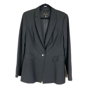 Escada Black Lined Button Front Blazer Jacket 42
